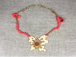 "Колье ""Бабочка"" на светло-розовой ленте от Mario Conti"