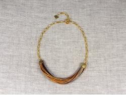 Колье из золотых тонких кожаных шнуров от Marina Lurye