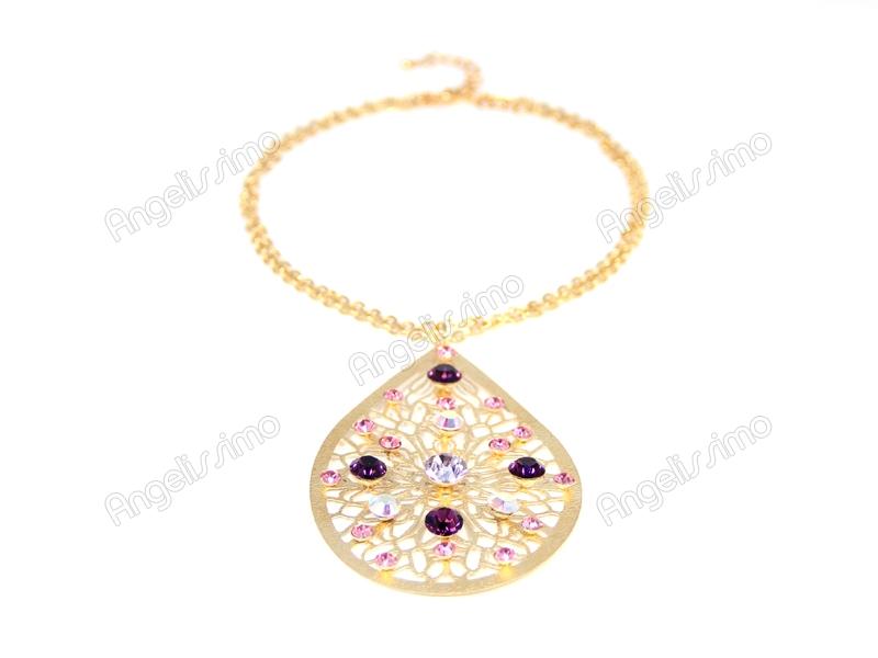 Колье на цепочке золотого цвета с разноцветными кристаллами Swarovski