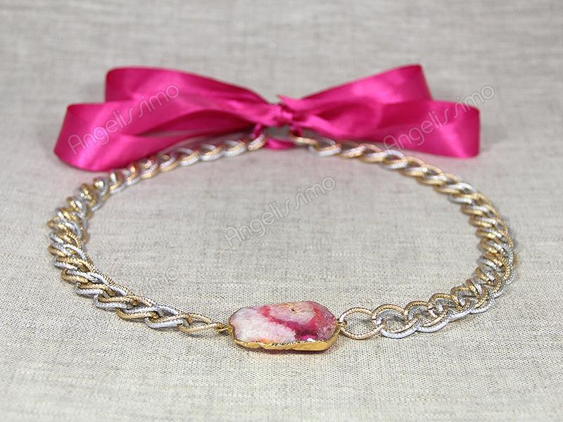 Колье с кварцем на розовой ленте от Victory Bijoux